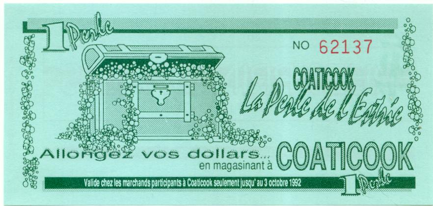 1992 Coaticook Trade Note or Script